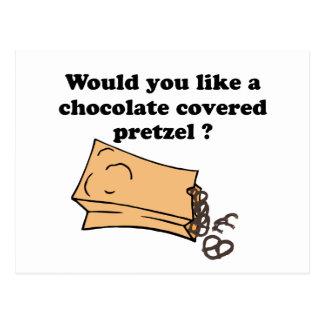 el chocolate cubrió los pretzeles tarjeta postal