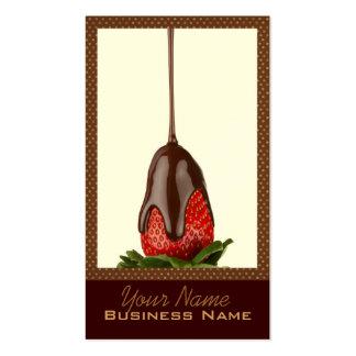 El chocolate cubrió tarjetas de visita de las