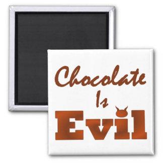 El chocolate es cuadrado malvado imán cuadrado