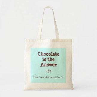 El chocolate es la respuesta bolsa tela barata
