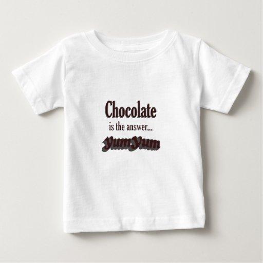 El chocolate es la respuesta playeras