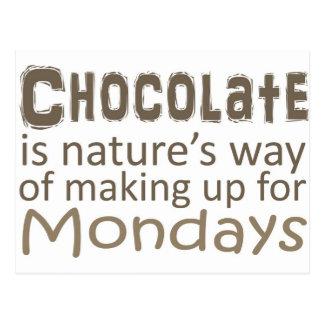El chocolate es manera de las naturalezas de postal