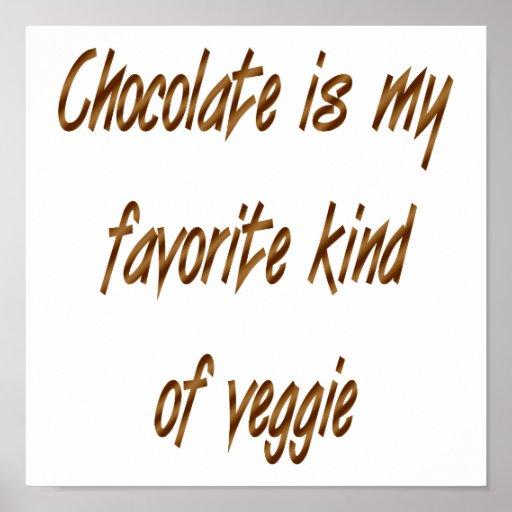 El chocolate es mi clase del favorito de Veggie Póster