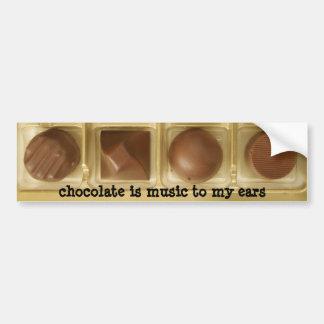 el chocolate es música a mis oídos pegatina de parachoque