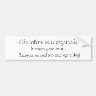 El chocolate es una verdura etiqueta de parachoque