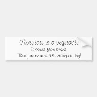 El chocolate es una verdura pegatina para auto