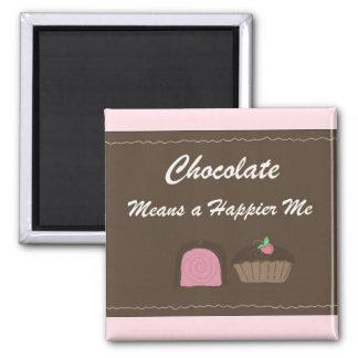 El chocolate me hace feliz imán cuadrado