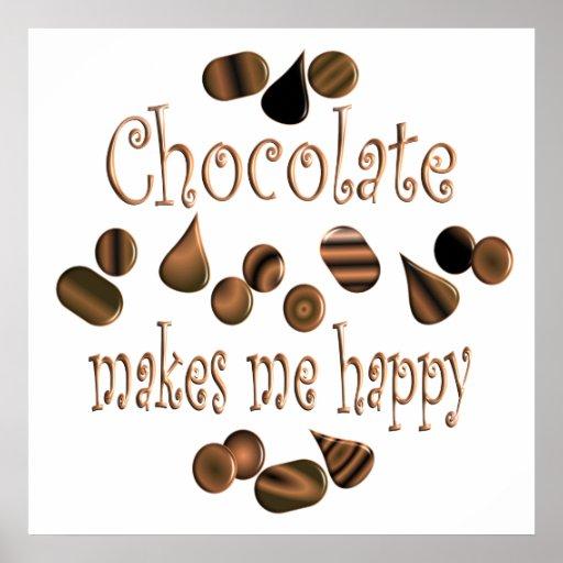 El chocolate me hace feliz póster