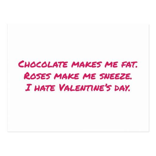 El chocolate me hace la grasa, flores hace que est tarjeta postal