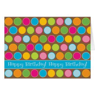 El chocolate puntea la tarjeta de cumpleaños
