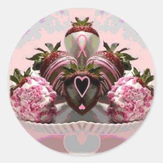 El chocolate rosado de la cinta sumergió las pegatina redonda