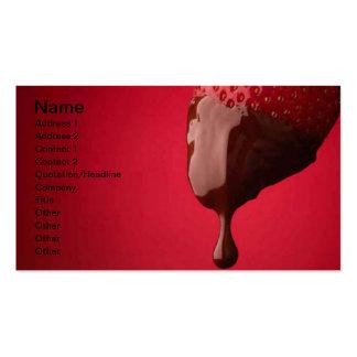 El chocolate sumergió la fresa tarjetas de visita