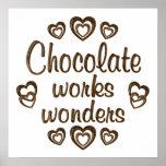 El chocolate trabaja maravillas impresiones