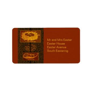 El chocolate trata Pascua Etiquetas De Dirección