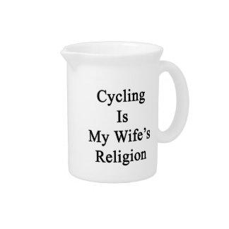 El ciclo es la religión de mi esposa jarra para bebida