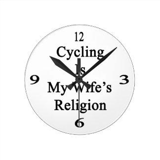 El ciclo es la religión de mi esposa reloj de pared