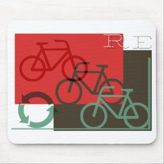 el ciclo recicla el gráfico retro mouse pads