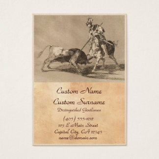 El Cid Campeador Spearing Another Bull José Goya Business Card