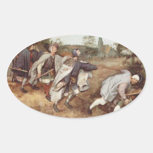 El ciego llevando las persianas - 1568 pegatinas de oval personalizadas