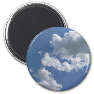 """El """"cielo azul se pregunta """" imán redondo 5 cm"""