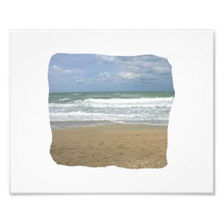 El cielo de la arena del océano se descoloró fondo impresiones fotograficas