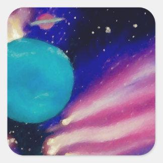 El cielo del universo del espacio de Neptuno Pegatina Cuadrada