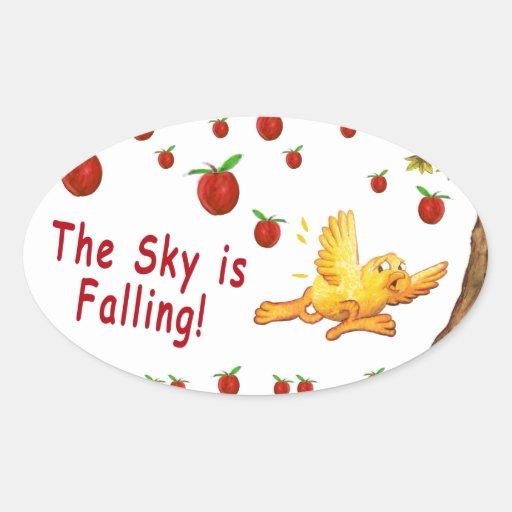 El cielo está cayendo pegatina ovalada