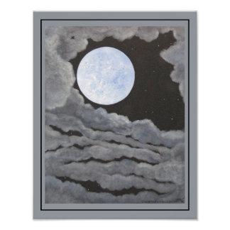 El cielo nocturno de la Luna Llena de la luna del Cojinete