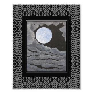 El cielo nocturno de la Luna Llena de la luna del Impresión Fotográfica