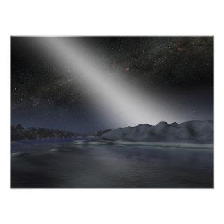 El cielo nocturno de un planeta extranjero hipotét impresion fotografica
