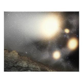 El cielo nocturno según lo visto de un avión fotografía