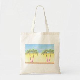 El cielo retro de dos árboles de la palma se desco bolsa tela barata
