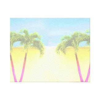 El cielo retro de dos árboles de la palma se desco impresiones en lona estiradas
