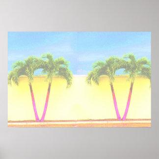 El cielo retro de dos árboles de la palma se desco póster