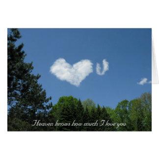 El cielo sabe cuánto te amo tarjeta de felicitación