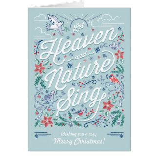 El cielo y la naturaleza cantan la menta de la tarjeta de felicitación