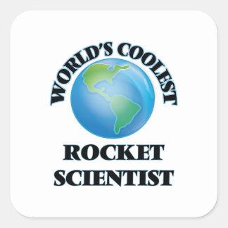 El científico más fresco de Rocket del mundo Calcomania Cuadradas Personalizadas
