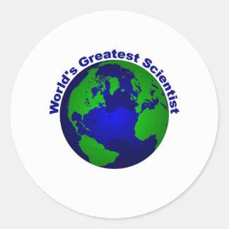 El científico más grande del mundo pegatina redonda