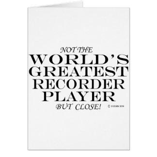 El cierre más grande del jugador de registrador tarjeta de felicitación