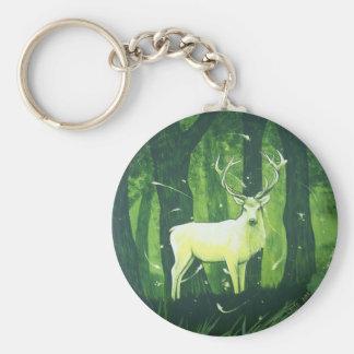 El ciervo blanco llavero redondo tipo pin