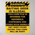 El ciervo de hostigamiento de cuidado es ilegal posters