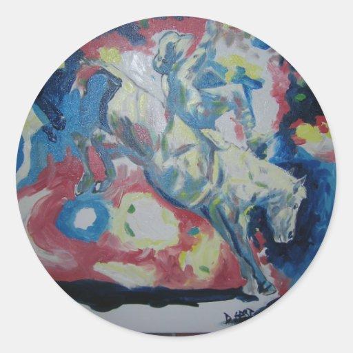 El ciervo de la pintura by7 David tituló la Pegatina Redonda