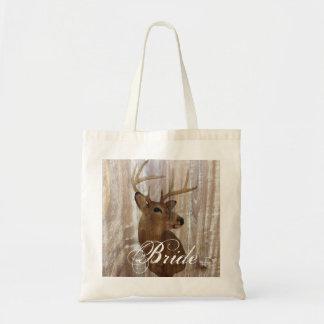el ciervo de madera rústico del grano la caza está bolsa tela barata