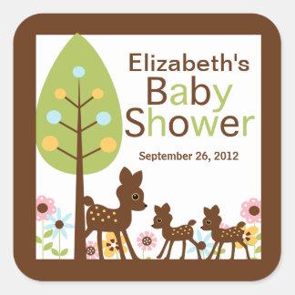 El ciervo del bebé hermana la invitación múltiple colcomanias cuadradases