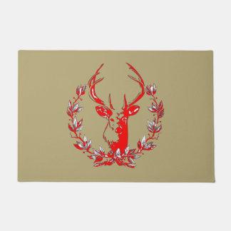 El ciervo rústico en laurel sale de navidad felpudo