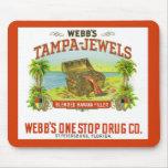 El cigarro Tampa gráfica del vintage Jewels Mousep Tapete De Raton