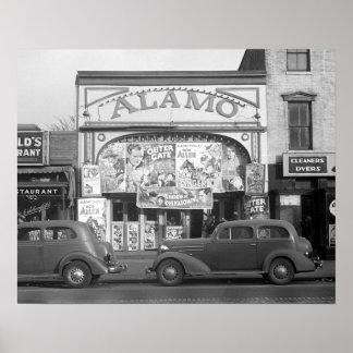 El cine de Álamo, 1937. Foto del vintage Póster
