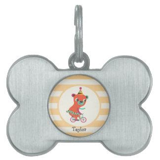 El circo anaranjado refiere la bicicleta; Rayas Placa Mascota