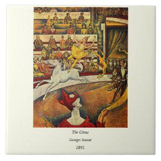 El circo de Jorte Seurat (1891) - payaso y jinete Azulejo Cuadrado Grande