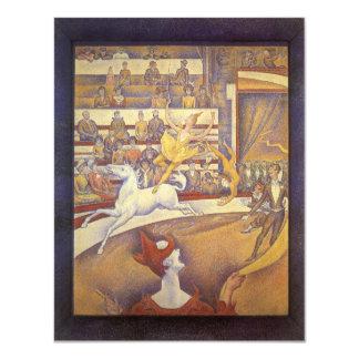 El circo de Jorte Seurat, Pointillism del vintage Invitación 10,8 X 13,9 Cm